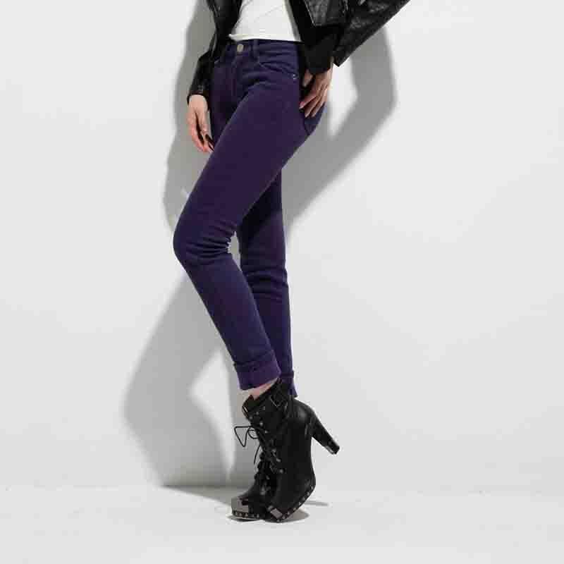 加厚加绒牛仔裤韩版潮小脚裤显瘦铅笔裤女士秋冬新款s233-2022_深紫色