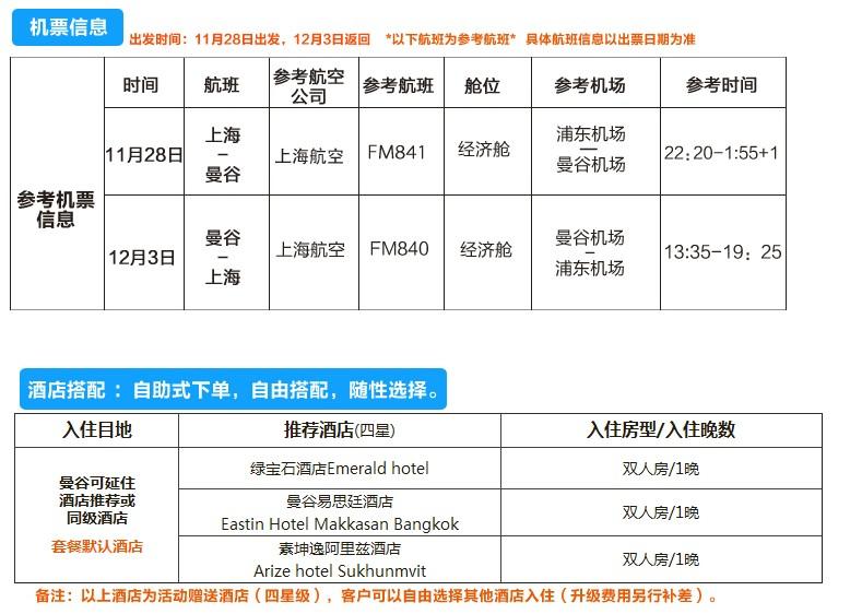 上海-曼谷往返直飞机票含税