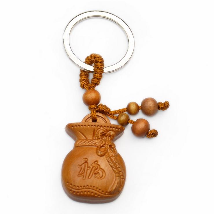 聚福木艺 辟邪木钥匙扣 雕刻福袋