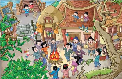 糖果城堡儿童画