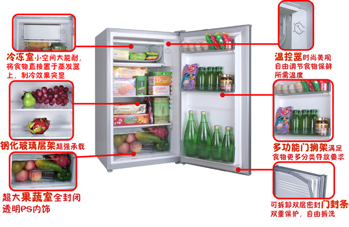 产品名称:Homa奥马BC-92双冻力太空舱冰箱(限北京、上海、广州、成都、武汉、郑州销售) 产品类型: 家电 大家电 冰箱/冰柜 市场价格:860.00 品牌:Homa奥马 容积:100升以下 门款式:单开门 耗电量:0.5KWH/24H 规格参数 基本信息 品牌 Homa奥马 型号 BC-92 颜色 傲银 开门方式 左侧 显示方式 无 气候类型 N、ST 功能 灵动设计,小巧不占地; 超微孔整体发泡技术,减少冷量流失; 高效纯碳氢无氟制冷剂R600a, 制冷效果更完美; 太空舱氦质谱检漏技术,金品质保